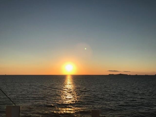 Sonnenuntergang beim Auslaufen