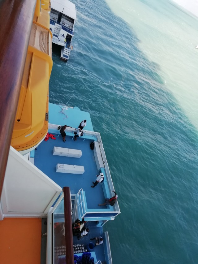 Karibik & Mexiko mit AIDA Luna - Blick vom Schiff auf das Tenderboot :)