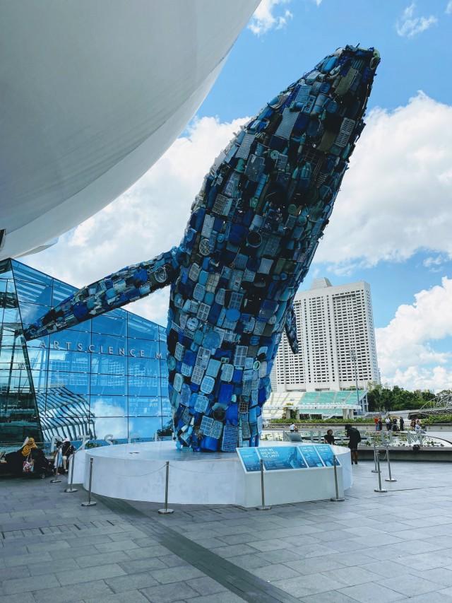 Ein Wal aus Plastikabfall