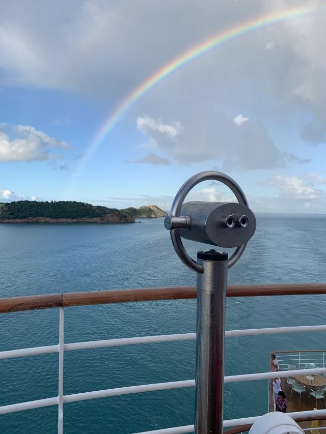 Regenbogen beim Einlaufen