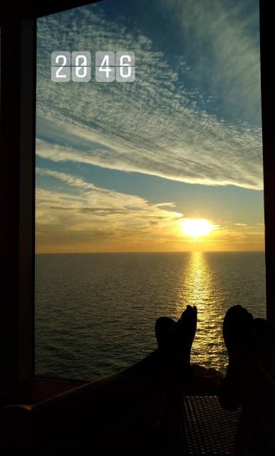 Sonnenuntergang an Bord