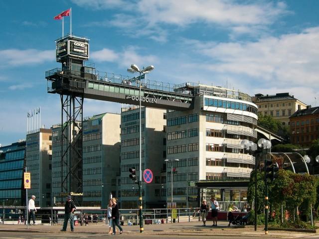 Momentan außer Betrieb: Freiluftaufzug Katarinahissen in Stockholm